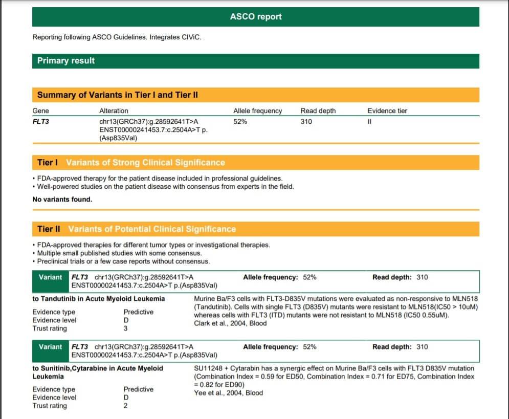 ASCO report example